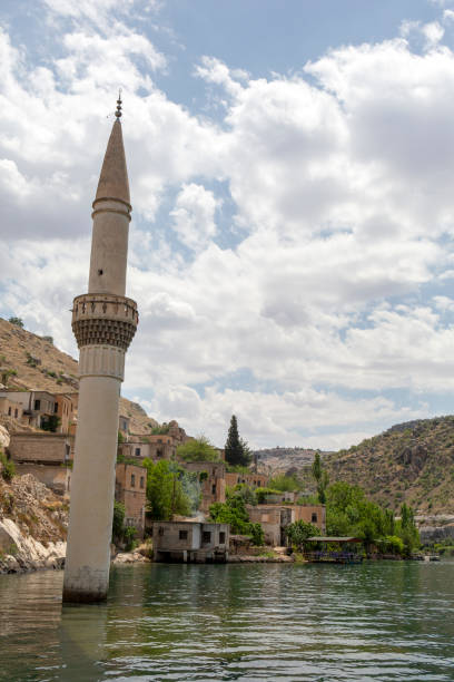 Sunken mosque and houses of the town Halfeti in Sanliurfa, Turkey stock photo