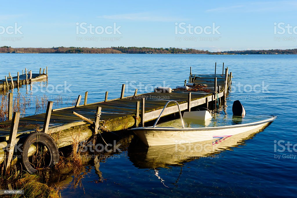 Sunken motorboat stock photo