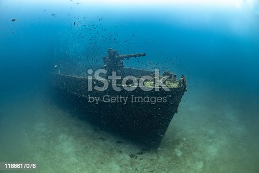 Sunken navy ship underwater