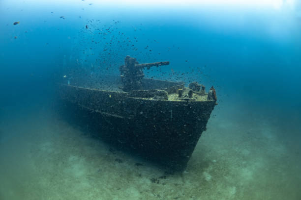 sunken navy ship underwater - shipwreck stock pictures, royalty-free photos & images