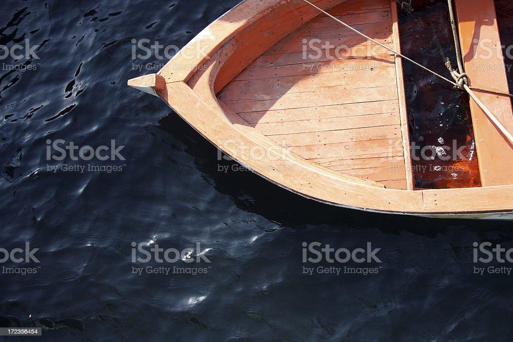 Sunken orange boat royalty-free stock photo