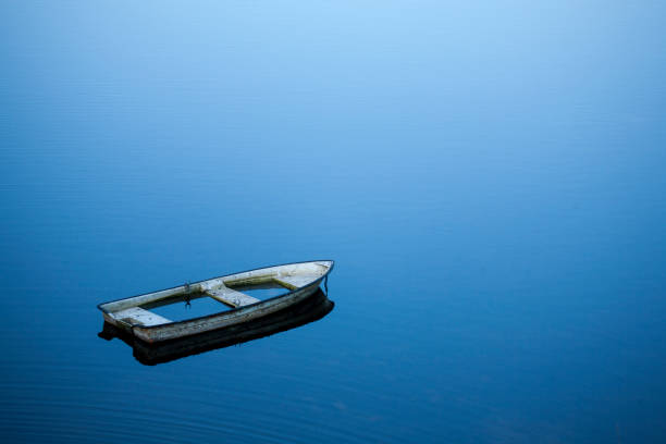 sunken rowboat in lake sunken abandoned rowboat in large lake with quiet water aground stock pictures, royalty-free photos & images