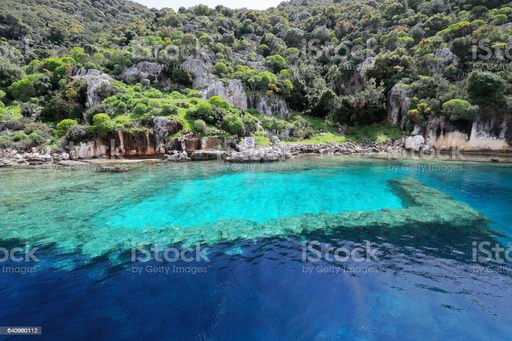 Sunken ruins in Kekova island. Ancient city of Simena-Turkey. 1073 stock photo