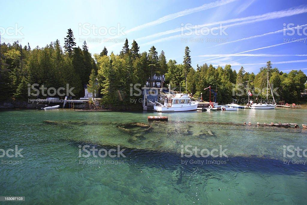 Sunken ship in lake Huron, Tobermory, Ontario stock photo