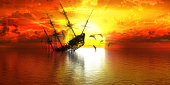 sunken ship on the background of sunset and dolphins, 3d illustration