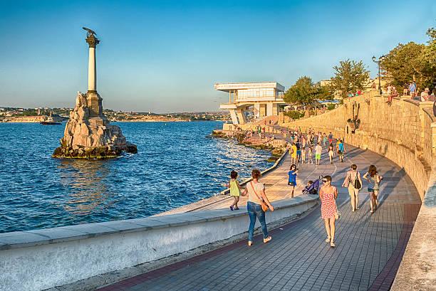 Sunken ships memorial, iconic monument in Sevastopol, Crimea - foto stock