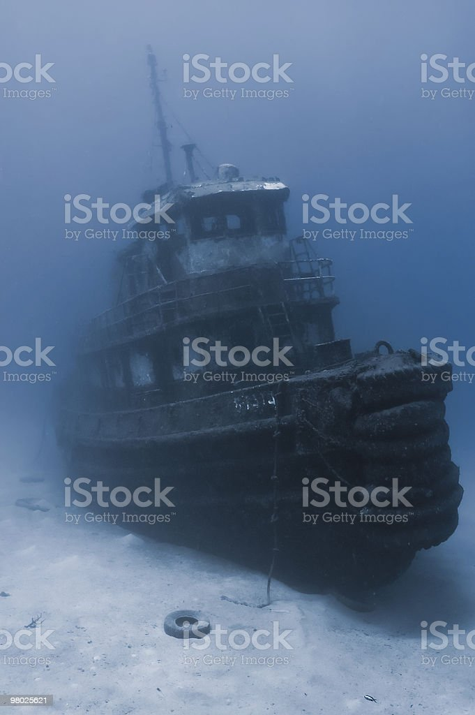 Sunken tugboat royalty-free stock photo