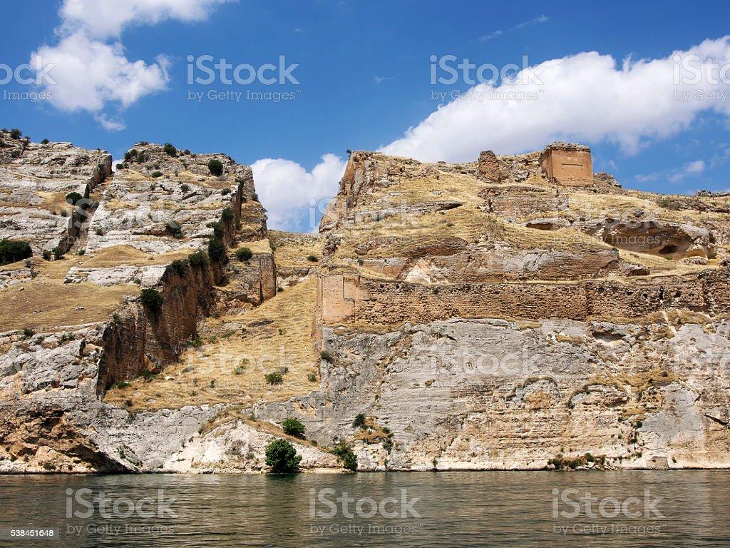 Sunken village Halfeti and rumkale in Gaziantep Turkey stock photo