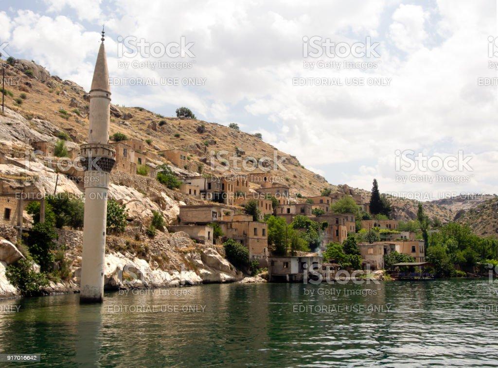 Sunken village Halfeti in Gaziantep Turkey stock photo