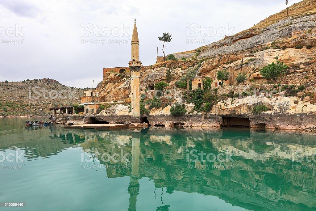 Sunken village Halfeti in Urfa Turkey stock photo
