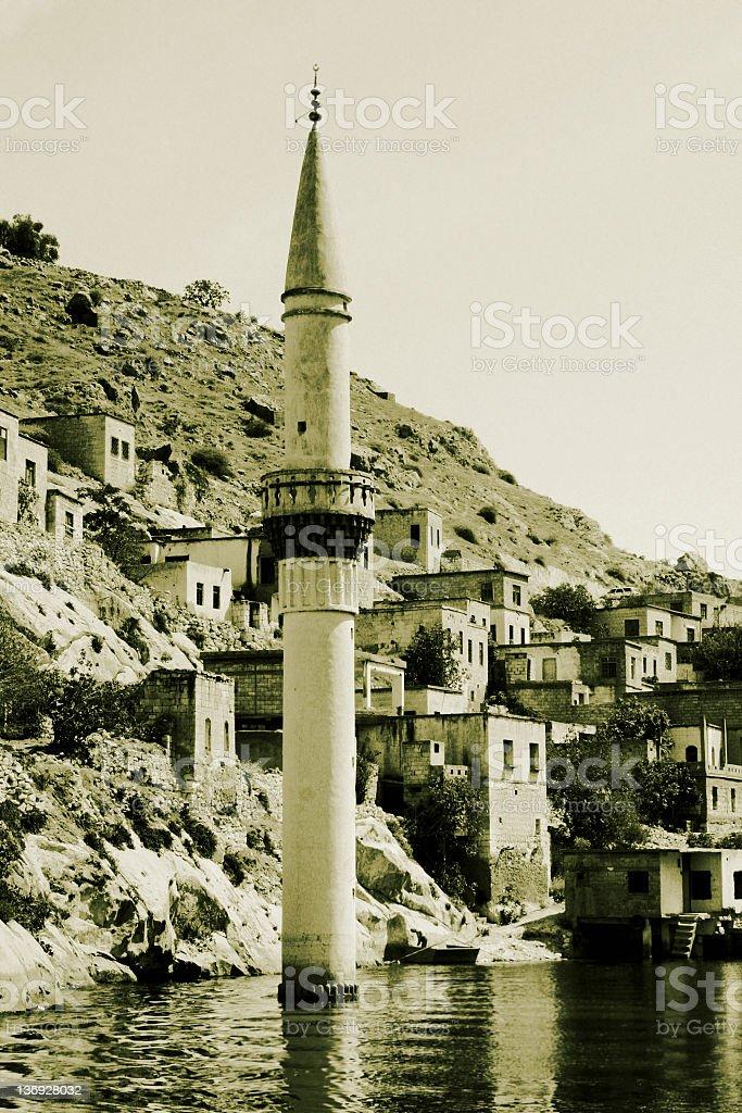 Sunken Village Savasan in Halfeti royalty-free stock photo
