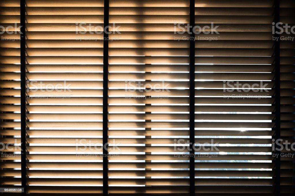 Sunlight Behide Vertical Blinds Window With Shadow Stock Photo