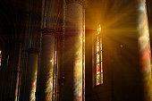 Sunlight through the stained glass windows in St. Ludmila of Bohemia church, Náměstí Míru, Vinohrady district. Built on plans of Josef Mocker in 1888–1892.