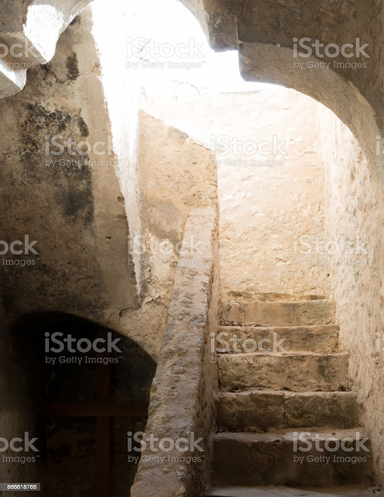 Sunlight Burst Through Upper Floor Staircase stock photo