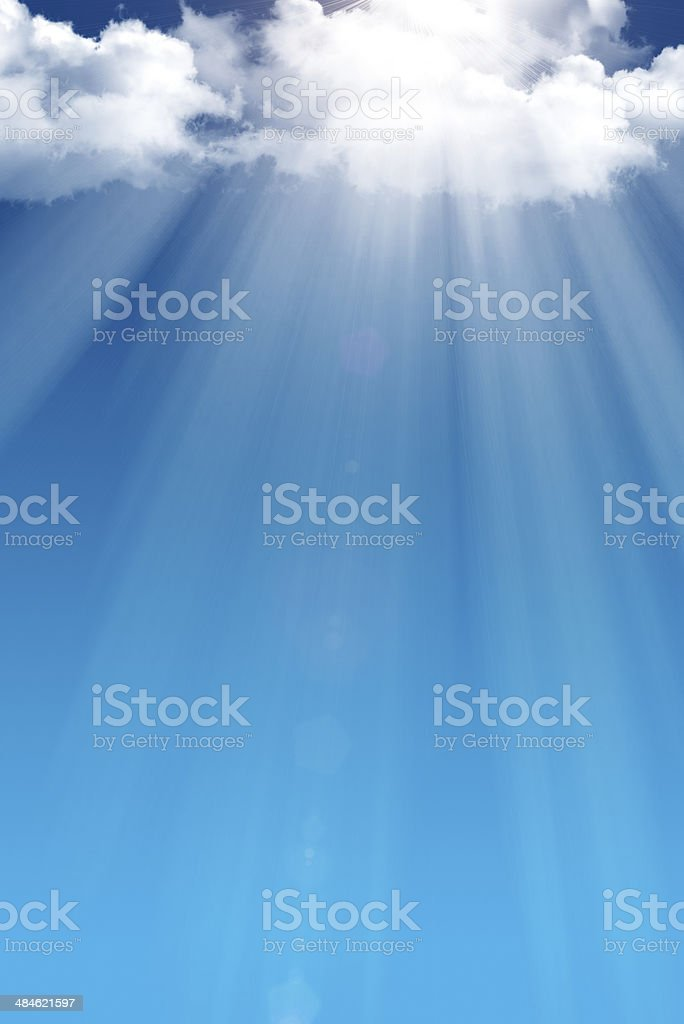 Sunlight from sun obscured by cloud stock photo