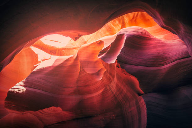 sunlight in antelope canyon - lower antelope canyon stock photos and pictures