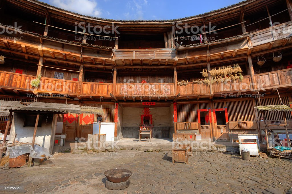 Sunlight in Hakka Tulou traditional Chinese housing, Fujian China royalty-free stock photo