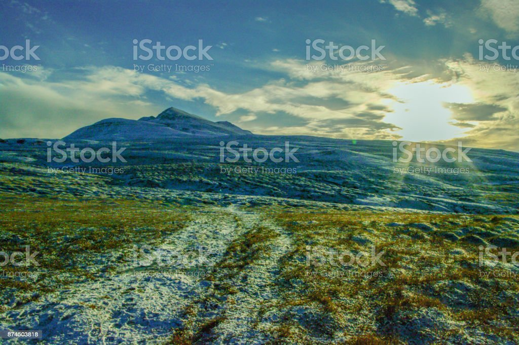 Sunlight in the mountains stock photo