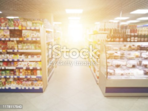 1072974214 istock photo Sunlight in the store with the sale of products and goods, blurred, hypermarket 1178117540