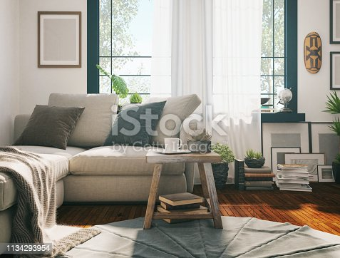 Picture of a domestic sofa in the living room. Render image.