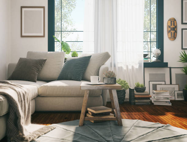 Sunlight Living room Picture of a domestic sofa in the living room. Render image. domestic room stock pictures, royalty-free photos & images