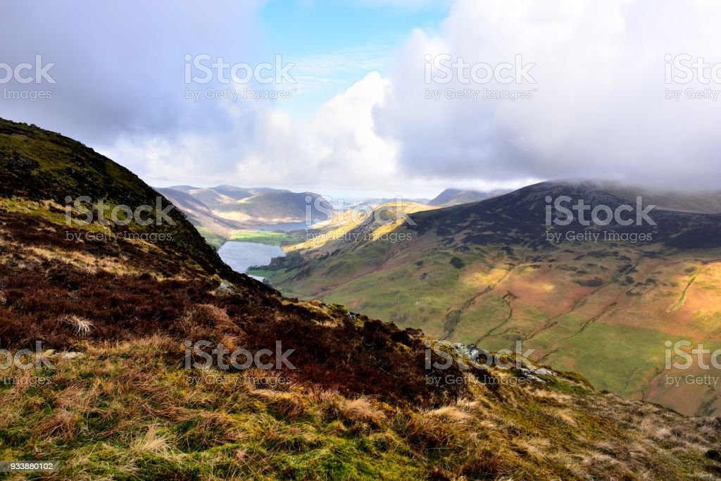 Sunlight on Buttermere and Low Fell stock photo