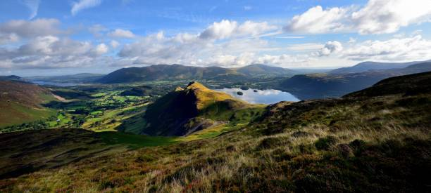 Sunlight on Cat Bells Skiddaw and Blencathra from Maiden Moor high seat stock pictures, royalty-free photos & images