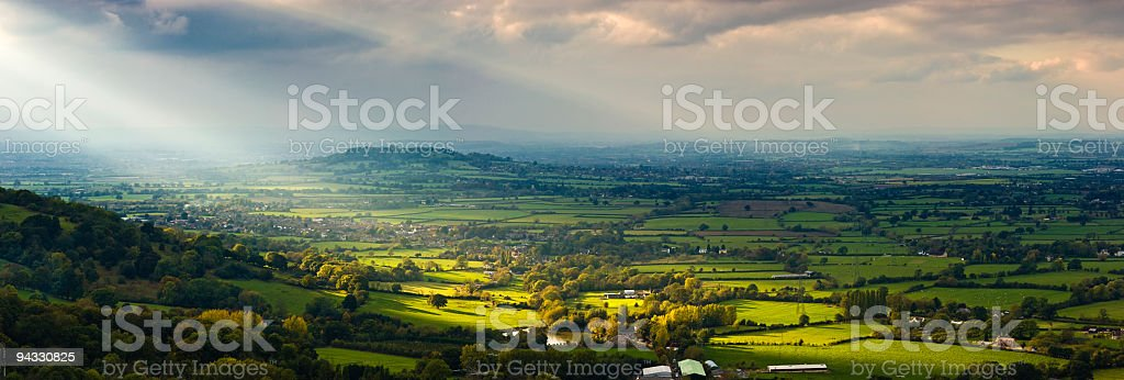 Sunlight on farms, villages, suburbs stock photo
