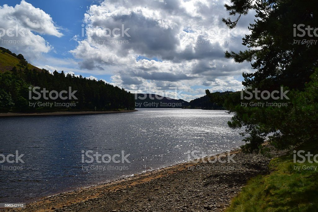 Sunlight on Ladybower Reservoir royalty-free stock photo