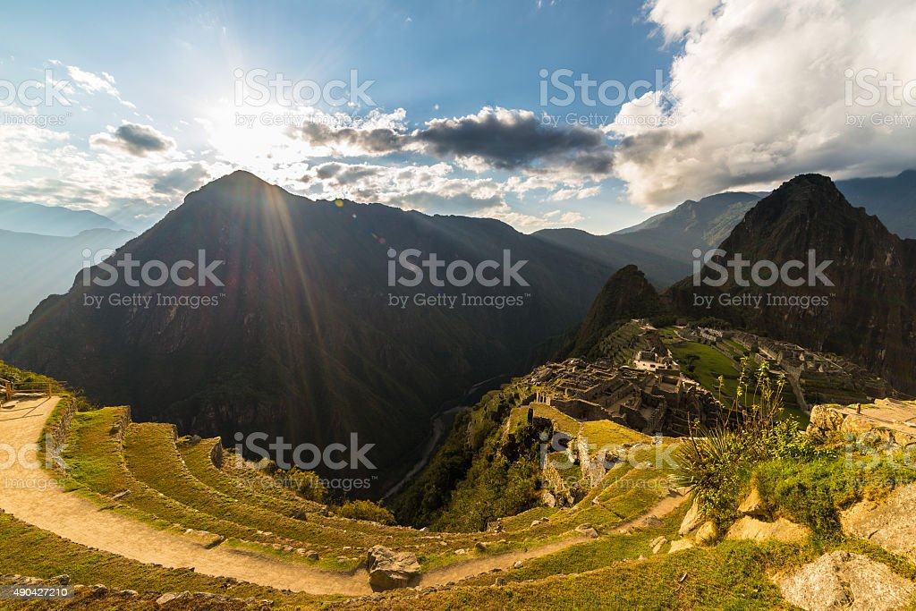 Sunlight on Machu Picchu from above, Peru stock photo