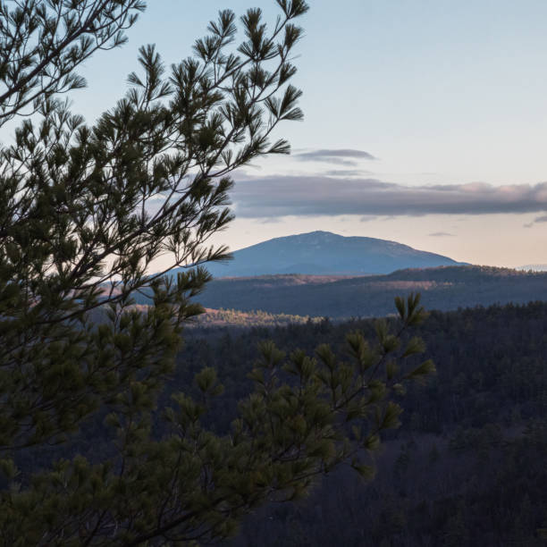 Sunlight on Mount Monadnock stock photo