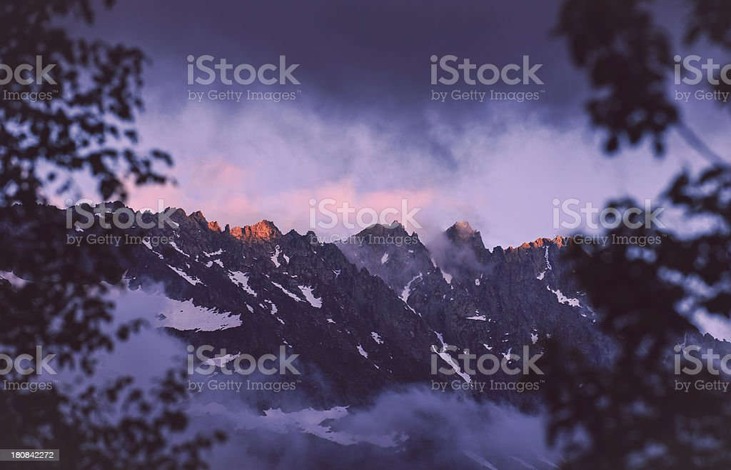 Sunlight on snow capped mountain - Pyrenees royalty-free stock photo