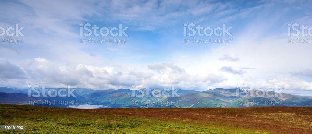 Sunlight on the Derwent Mountains stock photo