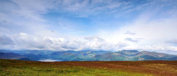 Sunlight on the Derwent Mountains Derwent Mountains as seen from Skiddaw high seat stock pictures, royalty-free photos & images