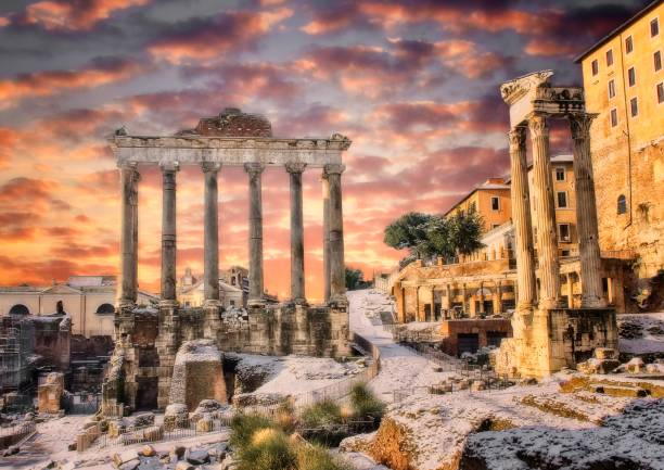 Sunlight on the Roman forum Winter shot in early morning of the Roman Forum temple ruin in Rome Italy ancient rome stock pictures, royalty-free photos & images