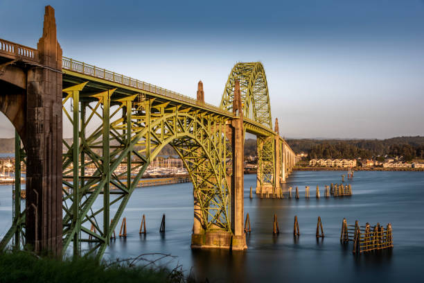 Sunlight on Yaquina Bay Bridge Newport Oregon Coast Landscape stock photo