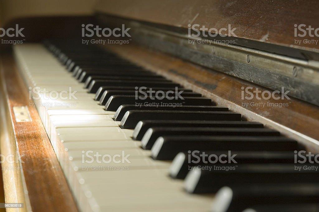 Luce solare su tasti di pianoforte foto stock royalty-free