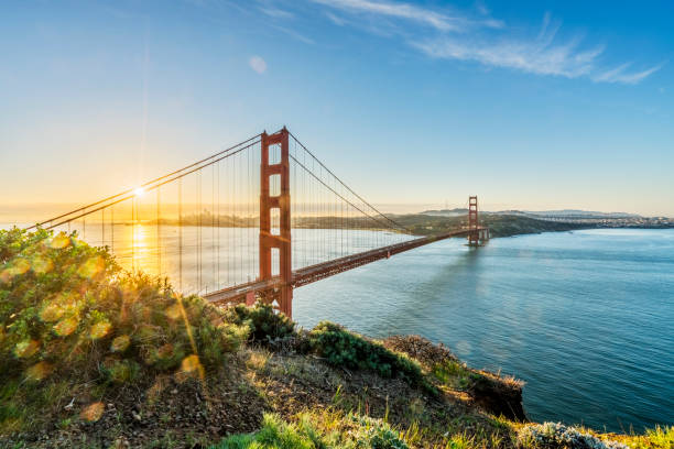 sunlight over San Francisco bay,California Golden Gate Bridge, San Francisco,California,USA. golden gate bridge stock pictures, royalty-free photos & images