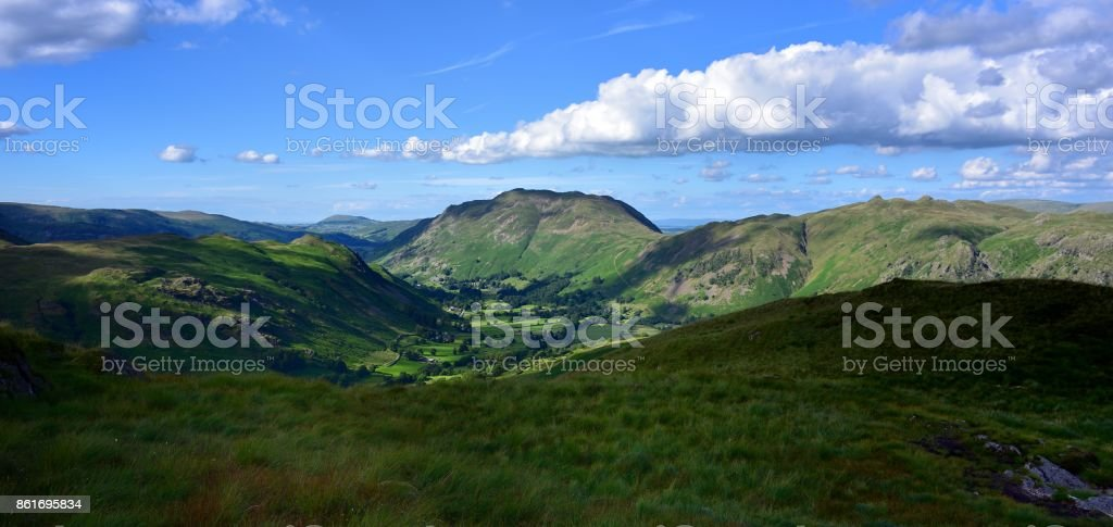 Sunlight over the Deepdale Valley stock photo