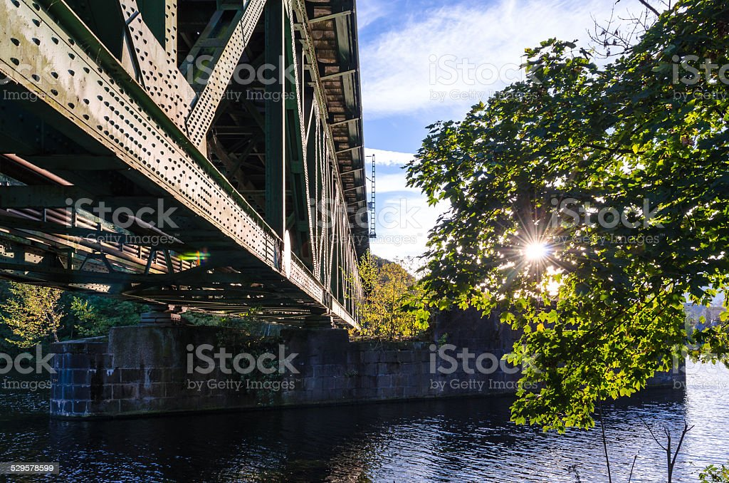 Sunlight, Railway Bridge, River stock photo