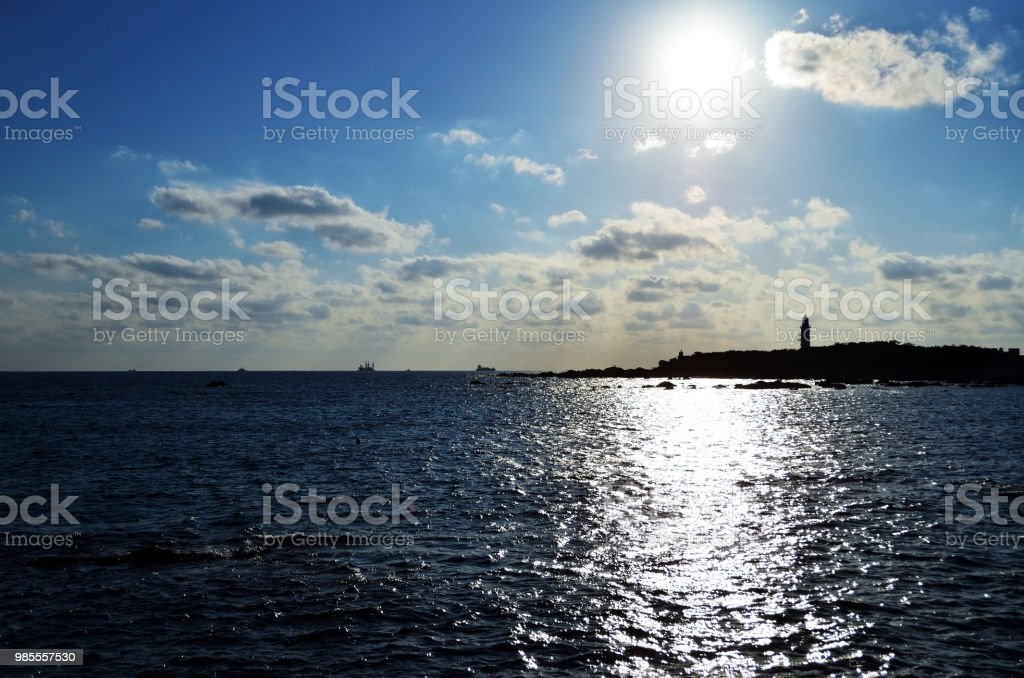 Sunlight reflects on ripples on the sea surface, Boso Peninsula, Chiba Prefecture, Japan stock photo
