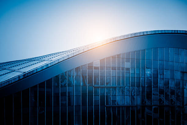 sunlight shine at modern building roof stock photo
