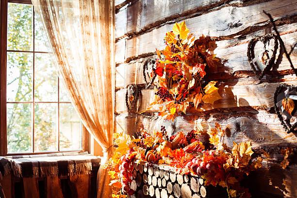 sunlight shining through a window in a wooden room - fensterdeko herbst stock-fotos und bilder