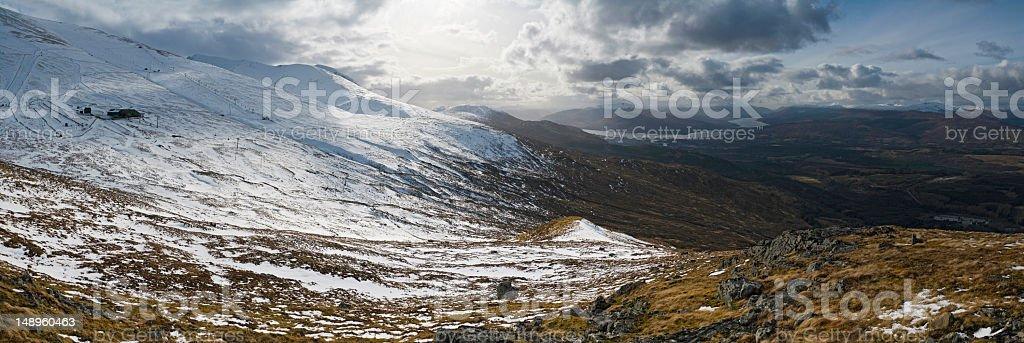 Sunlight snow Scotland Ben Nevis stock photo