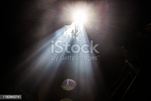 Sunlight entering the cave through hole.