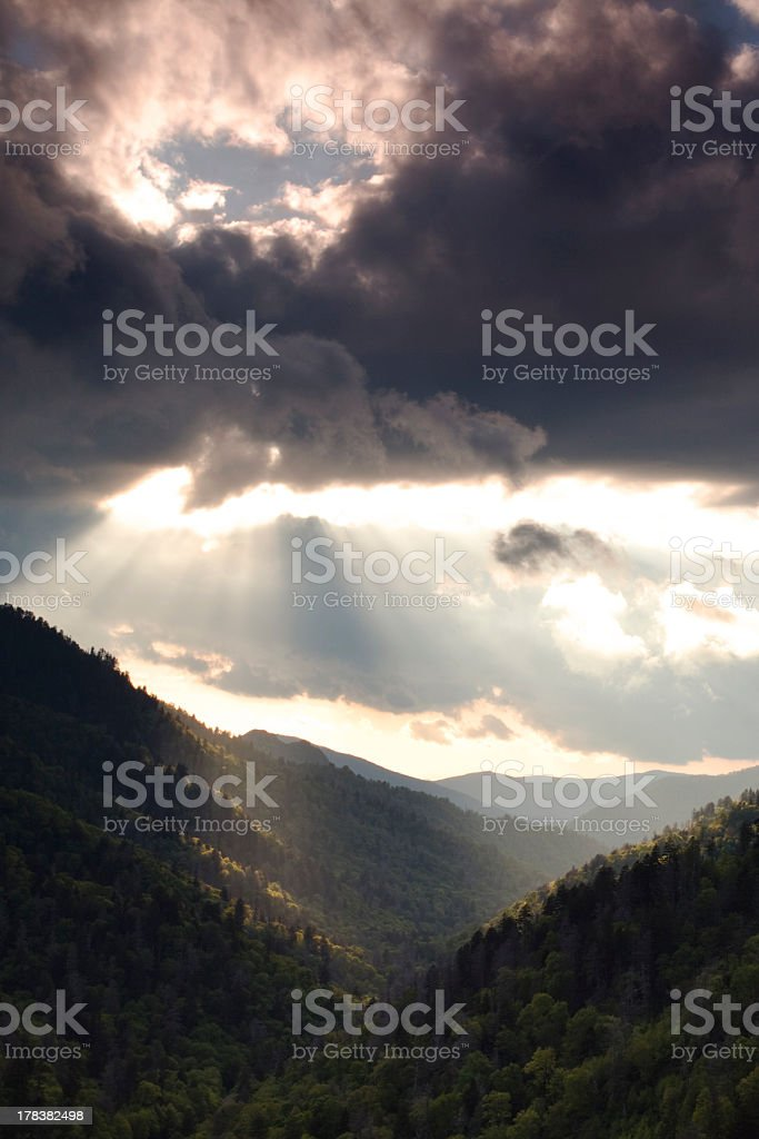 Sunlight through the Storm Clouds stock photo