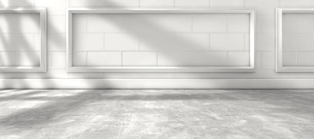 Sunlight through the window and interior room home background Home architecture, white wood floor and white wall.3d illustration war effort stock pictures, royalty-free photos & images