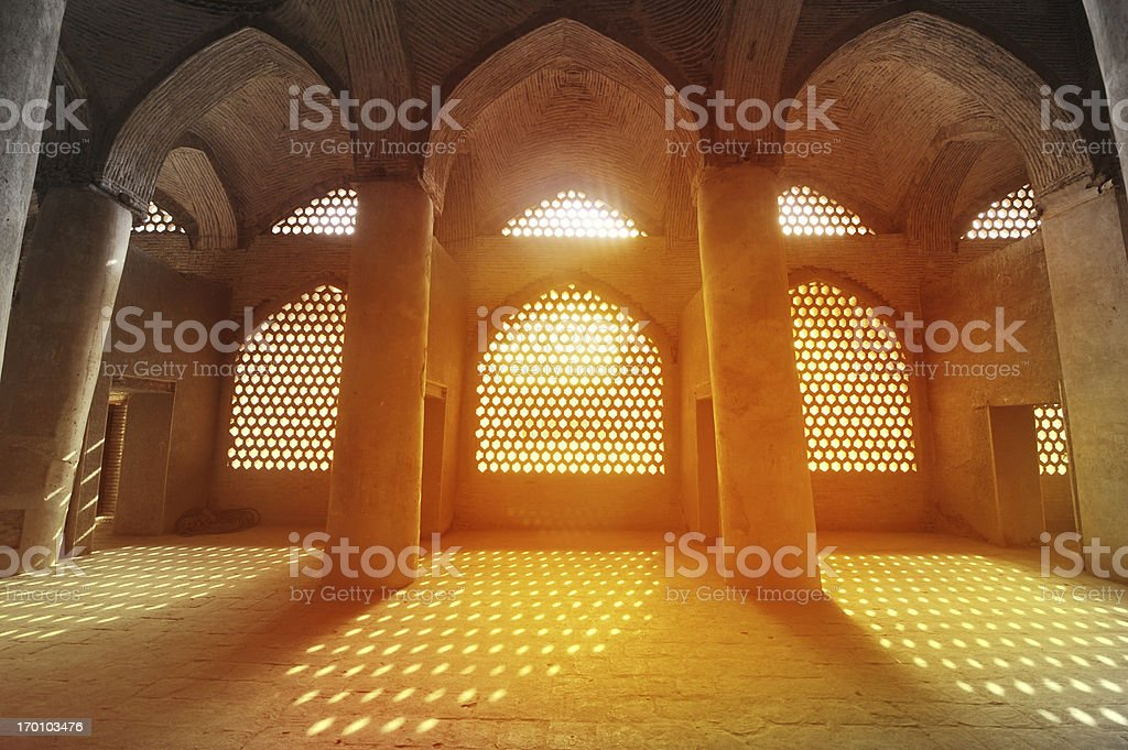 Sunlight through the windows of Sheikh Lotfollah Mosque, Iran stock photo
