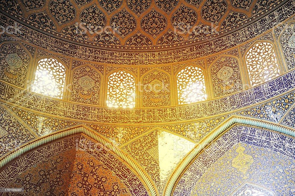 Sunlight through the windows of Sheikh Lotfollah Mosque, Iran stock photo