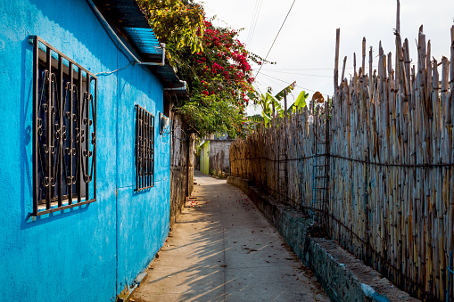 Sunlit alley with local colorful house, flower bush and wooden fence in San Pedro la Laguna at lake Atitlan, Guatemala